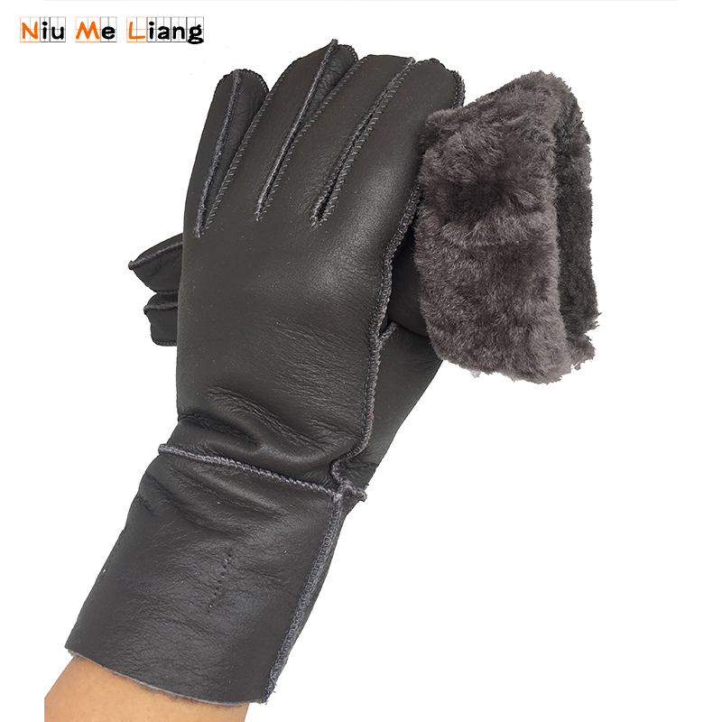Gloves Women Grey Genuine Leather Fashion Trend Women Sheepskin Glove Thermal Warm Winter Plus Velvet Leather Driving Gloves N17