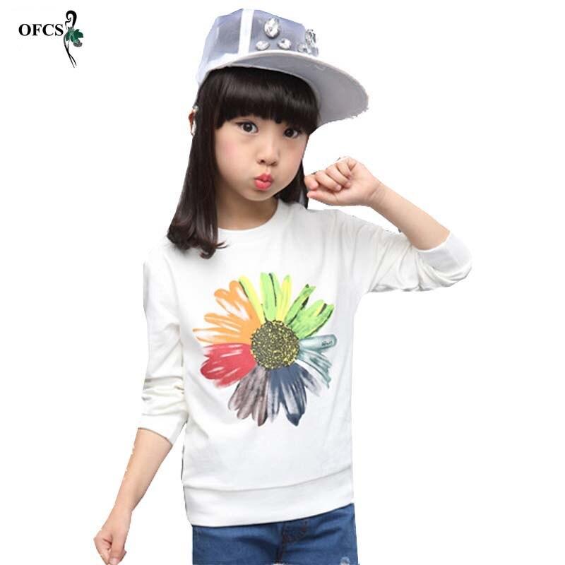 Einzelhandel Frühling Mädchen Pullover Kinder Kleidung Sunflower Pullover Druck Outfits T-shirt Schöne Langarm Kinder Kleidung 3-15 T