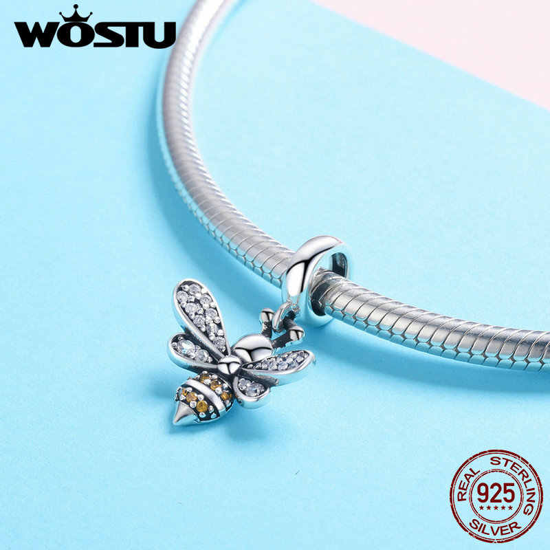 WOSTU 925 Sterling Silver Hot Sell Bee Crystal CZ Chain Bead Charms fit Bracelet Necklace 2019 Fashion Jewelry Party Gift CQC821
