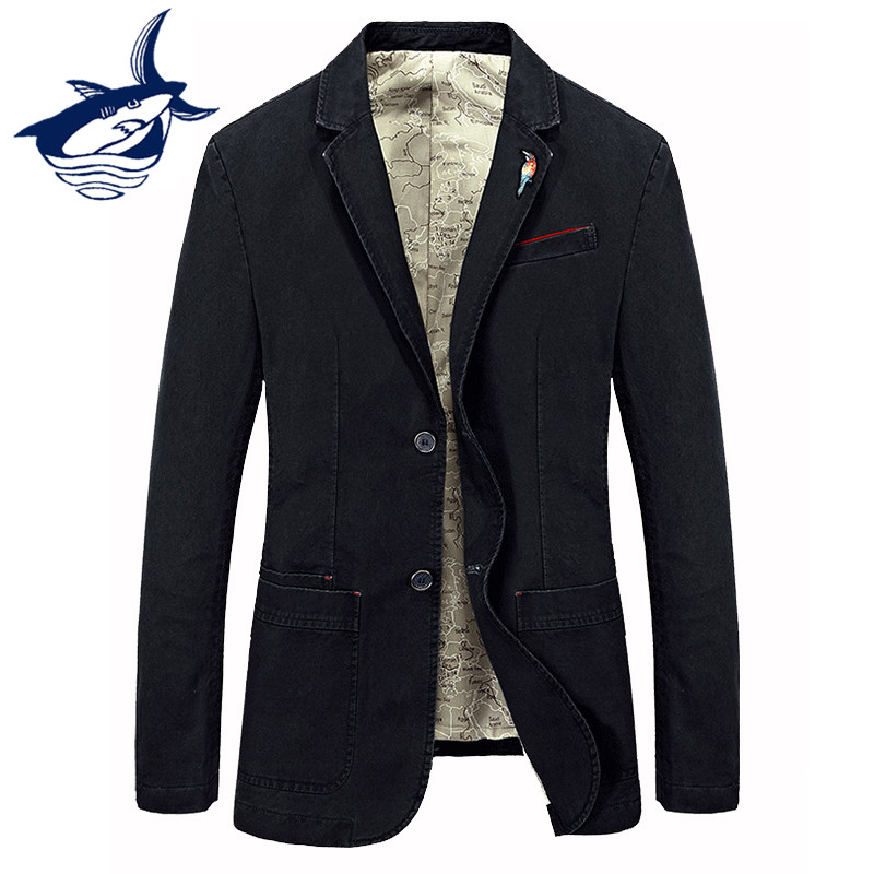 New Fashion Tace & Shark Brand Blazer Masculino Slim Fit Suit Jacket Costume Homme Cotton High Quality Casual Mens Blazer Jacket