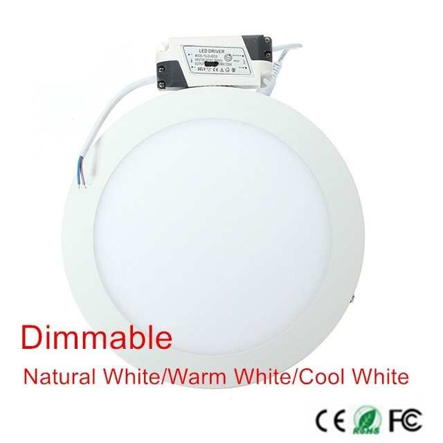 20pcs Dimmable Ultra Thin Led Panel Downlight 3w 4w 6w 9w 12w 15w 25w Round Ceiling Recessed Spot Light AC85-265V Painel lamp
