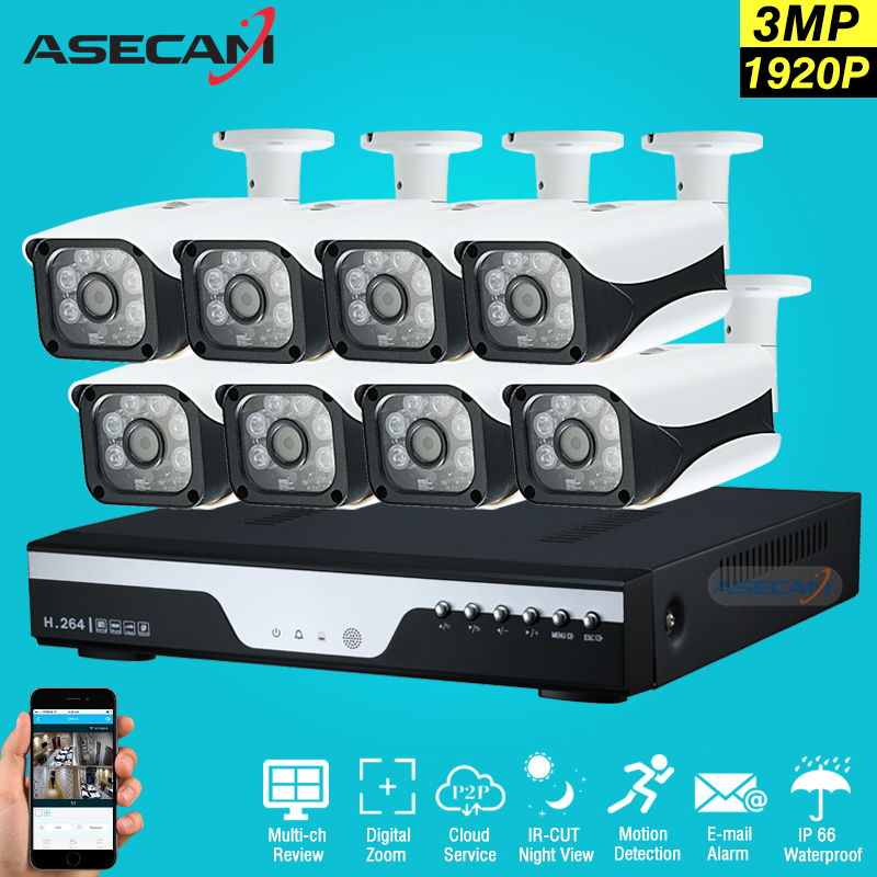 New Super 8CH HD AHD 3MP Home font b Outdoor b font Security Camera System Kit