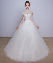 Elegant Ball Gown Wedding Dress Short Sleeve High Neck Lace up Vestido De Novia NM 914