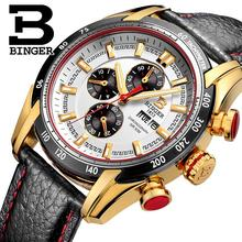 2017 watches men luxury brand Wristwatches BINGER Quartz Genuine Leather watch Sport Chronograph clock Diver glowwatch B1163-4
