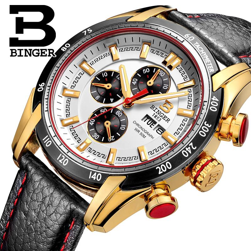 Watches Men Luxury Brand BINGER Japan MIYOTA Quartz Watches Genuine Leather watch Sport Chronograph Muiti-function clock B1163-4