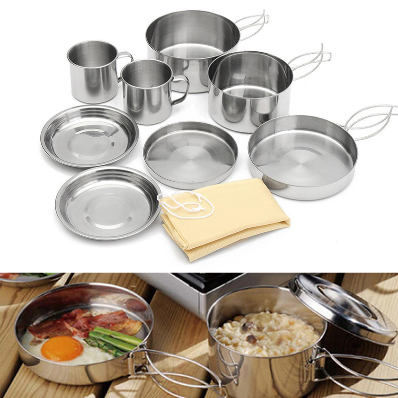 8Pcs/<font><b>set</b></font> <font><b>Stainless</b></font> <font><b>Steel</b></font> <font><b>Outdoor</b></font> Picnic Pot Pan Kit <font><b>Camping</b></font> Hiking Backpacking Cookware Plate/Bowl/<font><b>Cup</b></font>/Pan Cover Cooking <font><b>Set</b></font>