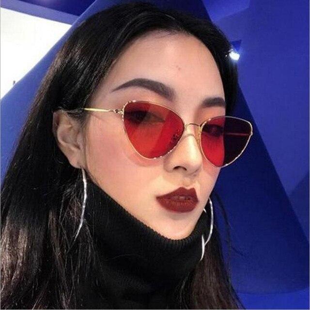 Cat Eye Women Sunglasses Tinted Color Lens Vintage Shaped Sun Glasses Women Eyewear 70s Luxe Red Female Sunglasses 5