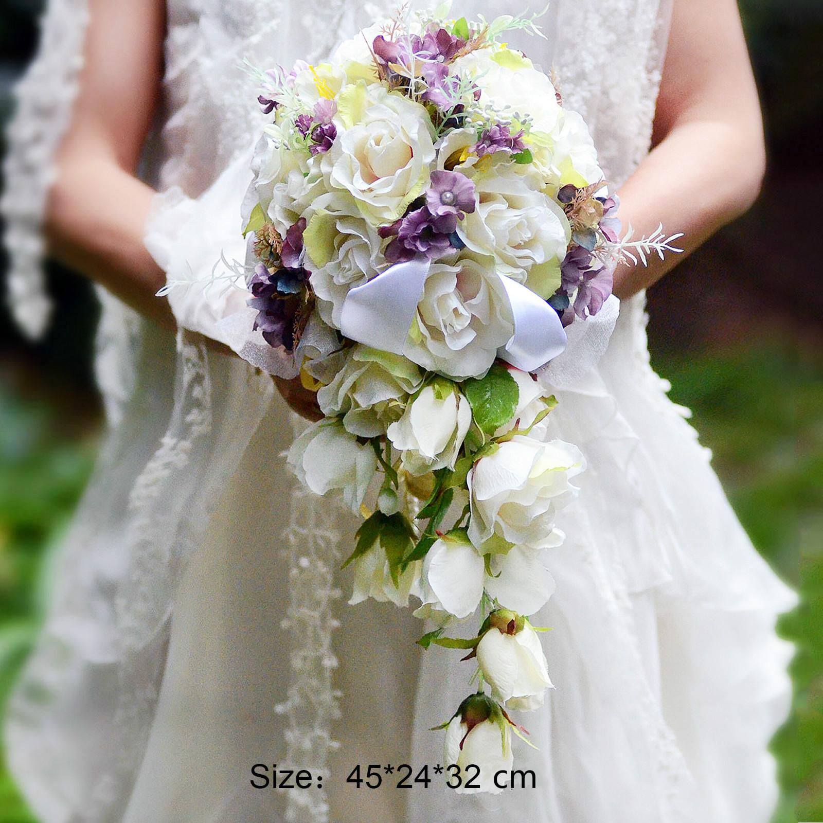 32x24x45 Cm Wedding Decoration Waterfall Bride Flower Bouquet