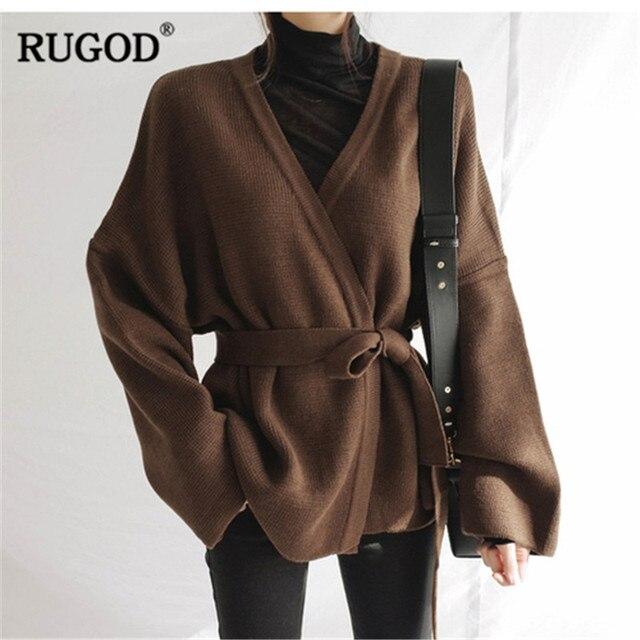 RUGOD 2020 Langarm Frauen Strickjacken Feste Beiläufige Gestrickte Frauen Pullover mit Gürtel Herbst Winter Kleidung Pull Femme Hiver