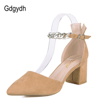Gdgydh Buckle High Heels Summer Women Sandals Pointed Toe Spring Cover Heel Shoes Hand Made Fashion