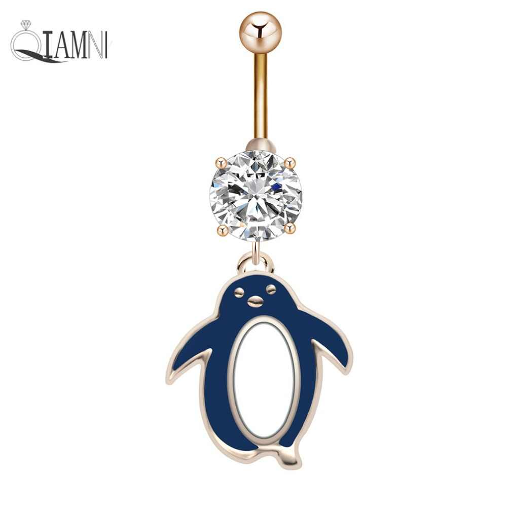 QIAMNI סקסיות פינגווין בעלי החיים תליון זירקון פירסינג להתנדנד ברבל טבור טבעת בטן תכשיטי גוף ילדה נשים מתנה לחג המולד