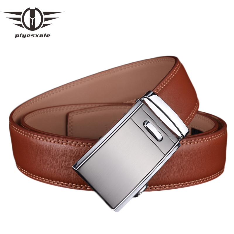 Plyesxale Genuine Leather   Belt   Men Automatic Buckle   Belts   2018 Famous Brand Brown   Belt   Male Top Quality Wedding Cummerbunds G58