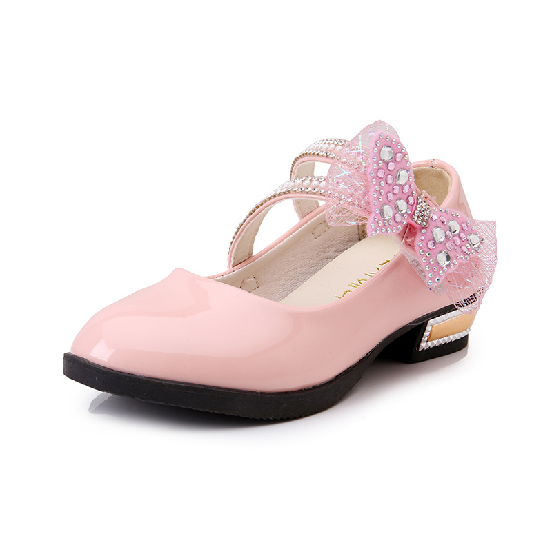 Girls Rhinestone Decoration Flats Shoes Princess Bowtie Bling Sandals Children Soft Pointed Toe Party Wedding Shoes AA51250 girls pearl beading rhinestone sandals princess square heel pointed toe dress shoes children wedding party formal shoes aa51329