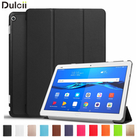 Phone Cases For Huawei MediaPad M3 Lite 10 Shell PU Leather Tri Fold Stand Cover For