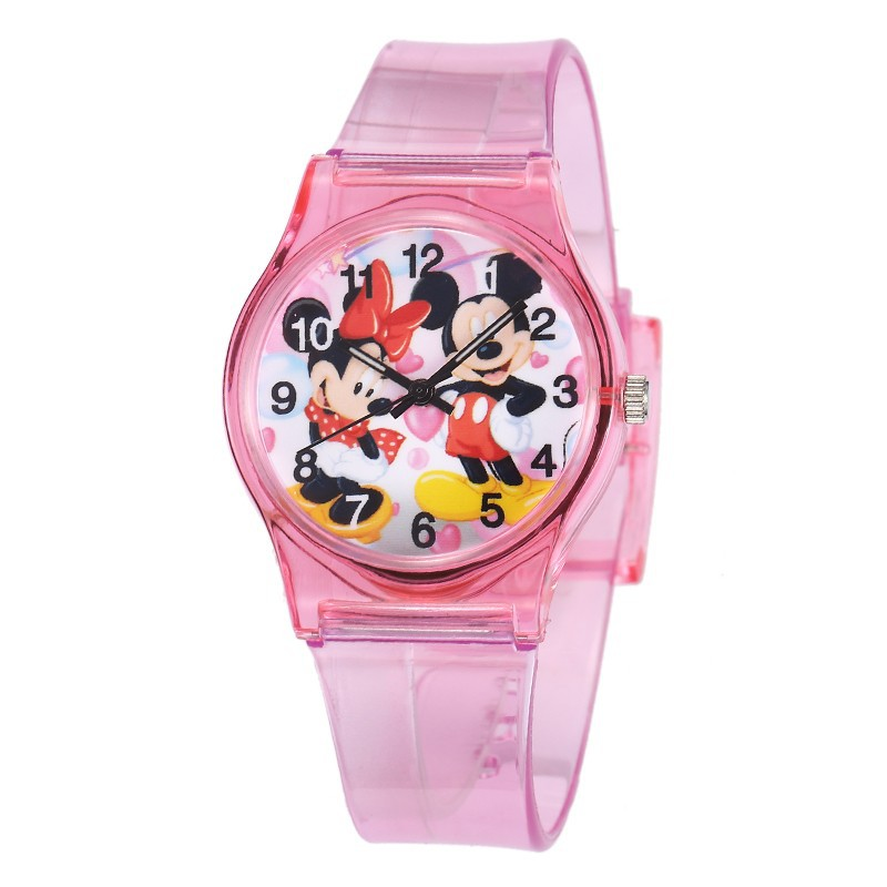 Lovely Minnie Mickey Mouse Children Watch Transparent Silicone Kids Watches Cute Cartoon Boys Girls Watch Clock Montre Enfant