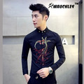 MAUCHELY 2017 New Spring Men's Korean Embroidery Sshirt Embroidered Shirt Slim Phoenix Location Fit Dress Shirt For Men Business