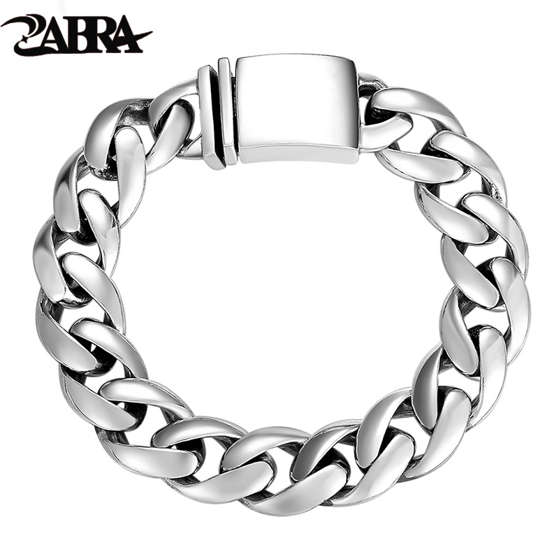 ZABRA Solid 925 Sterling Silver Bracelets Man High Polish Link Chain Bracelet For Men Vintage Punk Jewelry For Male zabra authentic 925 sterling silver 8mm skull bracelet link chain mens bracelet vintage thai silver punk bracelets men jewelry