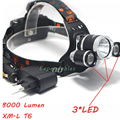 8000Lm Rechargeable Headlamp  1*T6 2*R2 3x  T6 LED Headlight Head lamp + AU/EU/US Charger +CAR Charger