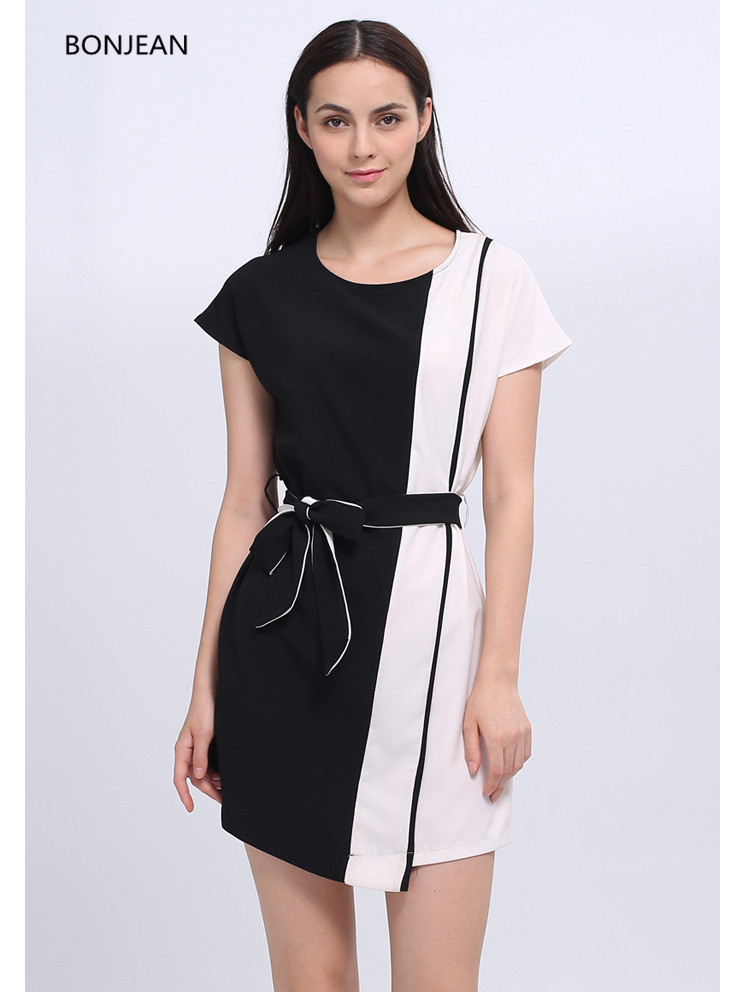Maxi Dress Lycra Robe Sale Knee-length Straight Short Free Shipingeurope And The 2018 New Hit Color Waist Belt With Thin Women
