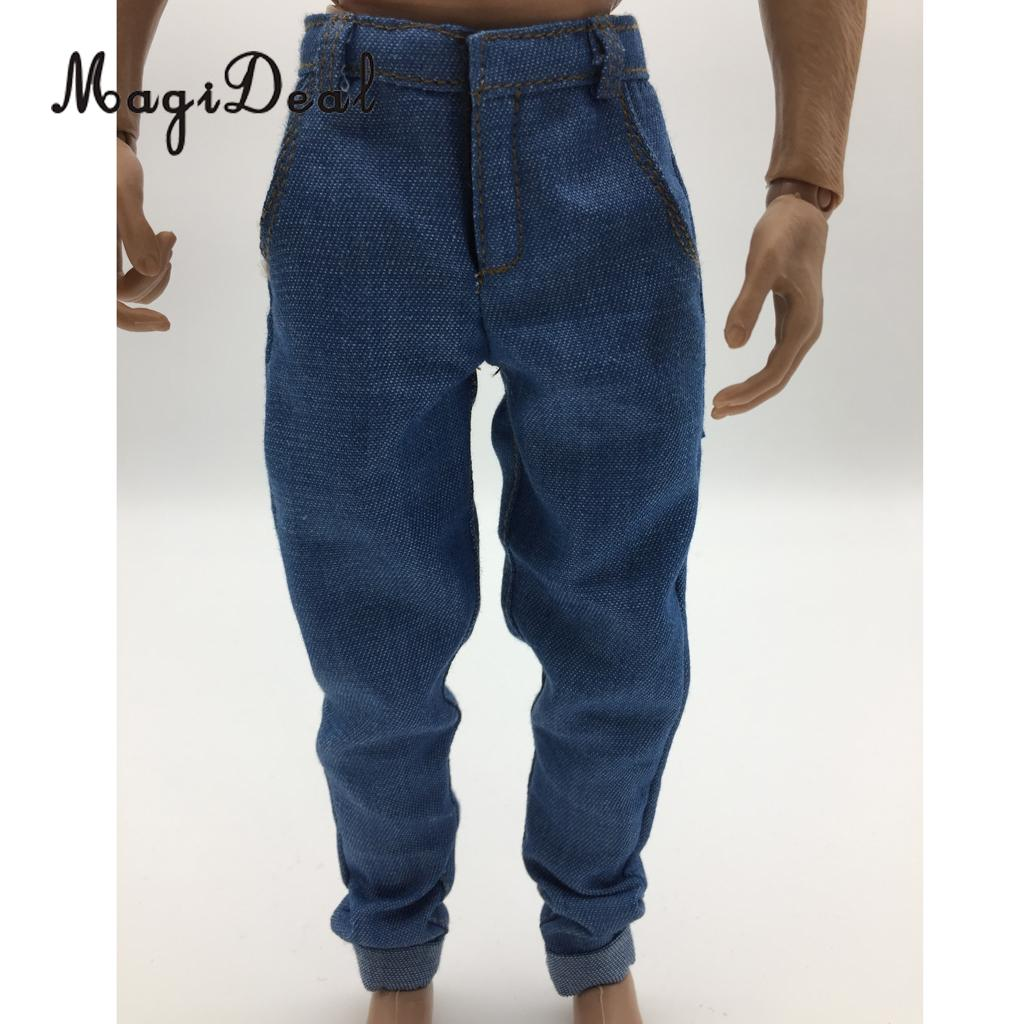 MagiDeal 1/6 Scale Mens Black Denim Jeans Pants Trousers Clothes for 12 Inch Male Action Figure Body Model Dolls