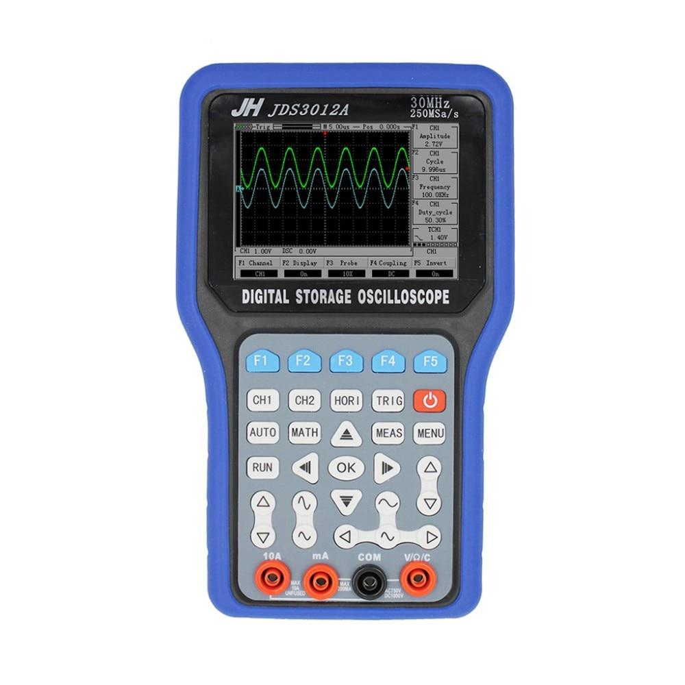 JDS3012A Ручной осциллограф Портативный осциллограф мультиметр генератор сигналов данных записи 30 мГц пропускная способность 2 каналов