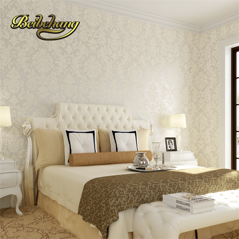 Non Woven Metallic Modern Background Wall Wallpaper Damask Classic Wall  Paper For Living Room Bedroom