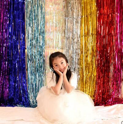 20pcs Bojar /Lot 2m*60cm Metallic Foil Fringe Door Rain Curtains Decoration Mariage Photo Party Wedding
