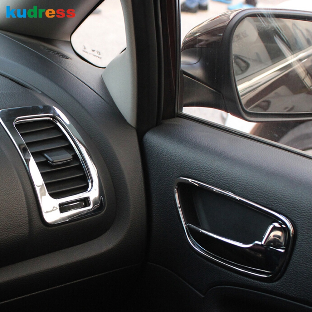 For kia forte cerato k3 2013 2014 2015 chrome inner door handle inside the handle special cup cover interior trim bright circle