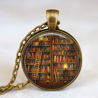 2014 Vintage Library Pendant Necklace Book Lover Necklaces Pendants Vintage Jewelry Librarian Gift Gift Necklace In