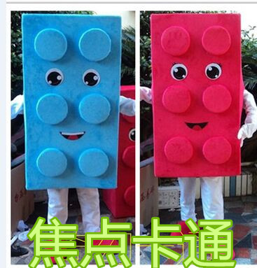 Make EVA Material Red Yellow Blue Blocks Mascot Costumes Crayon Cartoon Apparel Birthday Party Masquerade Halloween Dress