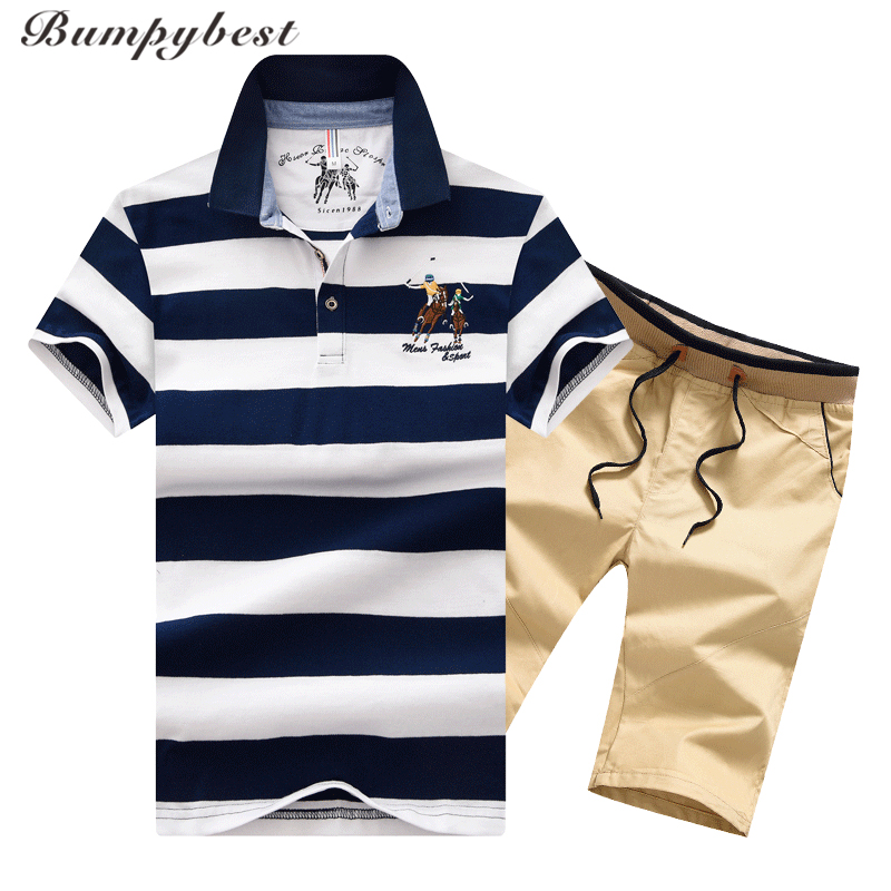Bumpybeast 2018 Summer New Mens Sportswear Striped Tracksuit Men Suits Sweatsuit Mens Short Sleeve T-shirt polo Sets M-4XL ...