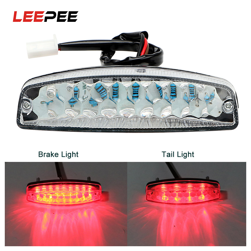 LEEPEE LED Rear Lights Motorcycle Lighting Moto Tail Brake Light Indicator Lamp For ATV Quad Kart Universal Cafe Racer Red