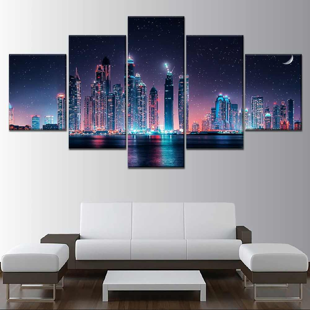 Hd Prints Modular Dubai Skyline At Night Painting Home Decor 5 Panel Wall Art Pictures Canvas Modern Poster Living Room Frames