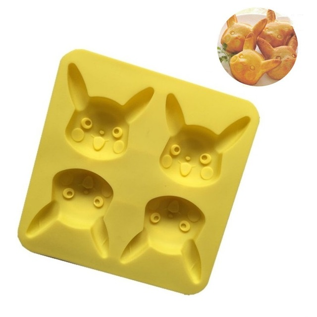 4 Hole Pikachu Rabbit Cookie Mold Cartoon Silicone DIY Molds Fondant Cake Candy Creative DIY Chocolate Kitchen Pasty Mould
