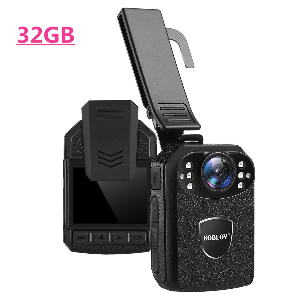 Boblov corps porté caméra HD 1296P KJ21 32GB DVR vidéo caméra de sécurité 170 degrés IR Vision nocturne Mini caméscopes