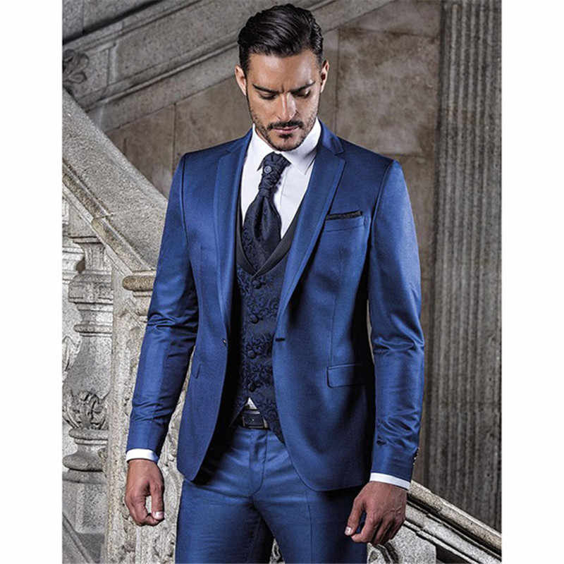 Custom Made Blauw Terno Bruidegom Tuxedos Bruidsjonkers kostuum homme Mens Wedding Suits slim fit mannen suit (jas + Broek + vest + tie)