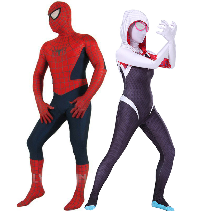 High Quality Adult/Childrens Gwen Stacy Spiderman Costumes Lycra Zentai Costume Mens/Womens Superhero Spiderman Cosplay Bodysuit
