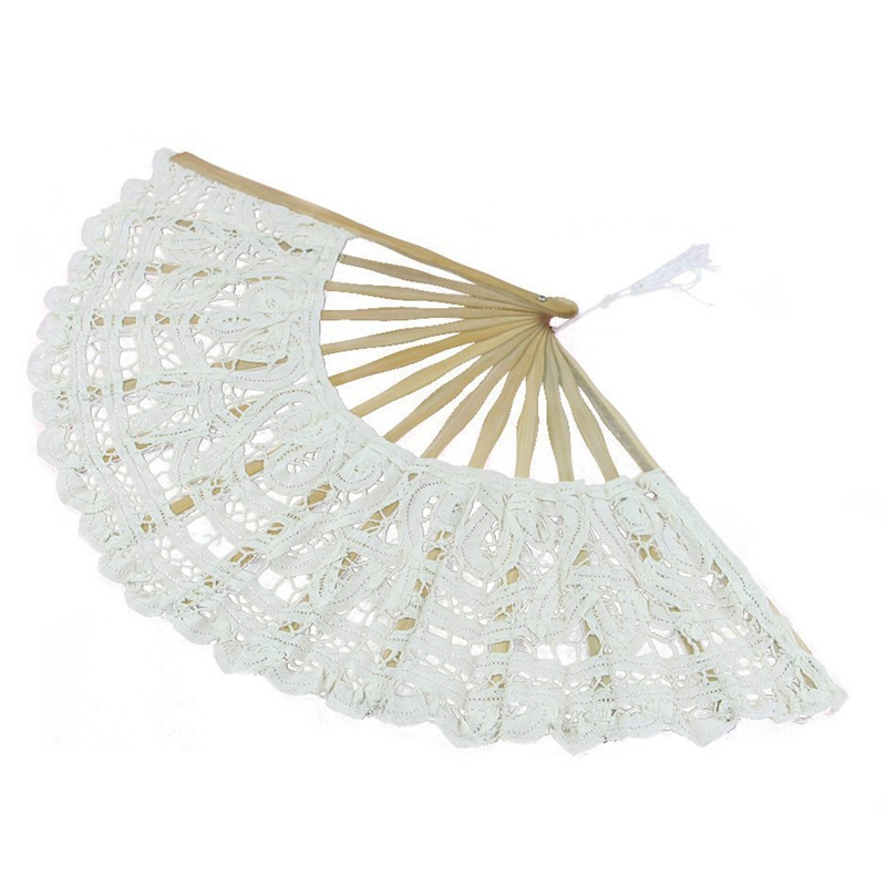 Handmade Cotton Lace Folding Hand Fan For Party Bridal Wedding Decoration ( White)
