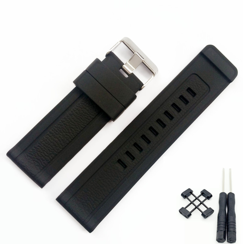 24 mm Black Silicone Rubber Strap Watch Band With Watches Buckle Belt For Suunto Core Watch + Adapters + 2Pcs Tools