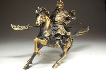 Collection Chinese brass Statue Guan Gong Riding horse statue