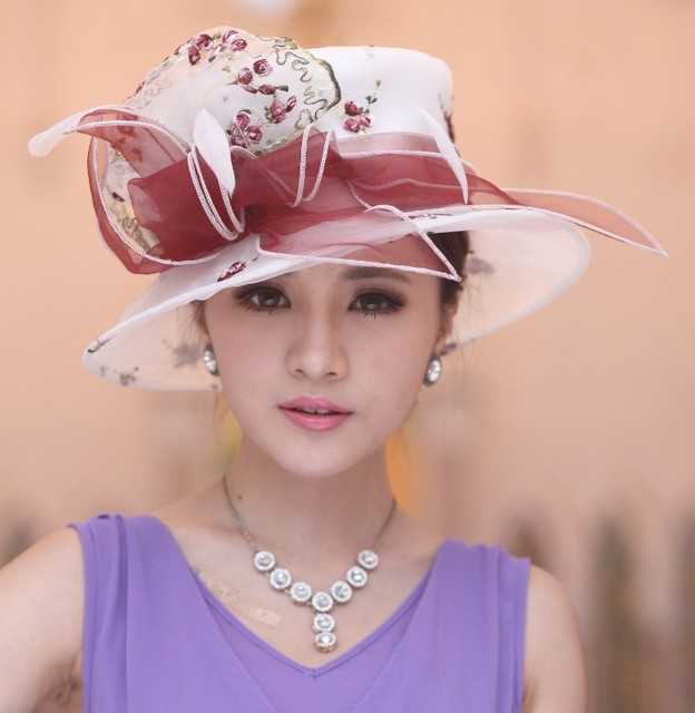 3176484baa7 Women Ladies Organza Hat Derby Church Wedding Beach Cocktail Evening Party  Summer Sun Cap Vintage Dress