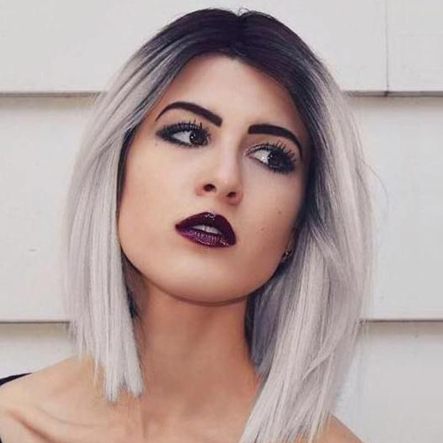 Ombre Synthetic Wigs Light Grey Wig Short Synthetic Sexy Female