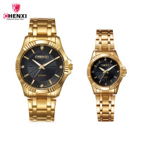CHENXI Couple Watch Men Lovers Watches Women Luxury Rhinestone Gold Stainless Steel Bracelet Quartz Wristwatches 1Pair Gifts 35