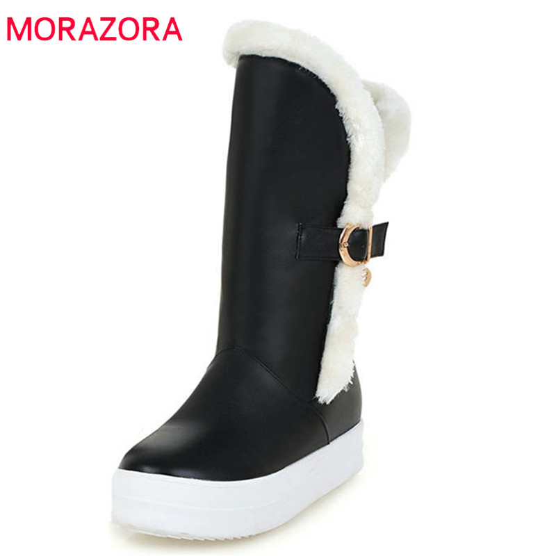 MORAZORA 2018 hot sale mid calf boots women round toe buckle winter snow boots top quality fashion casual boots shoes woman hot sale women shoes lace up round toe mid calf boots for women fashion print floral embellished denim shoes retro femme boots