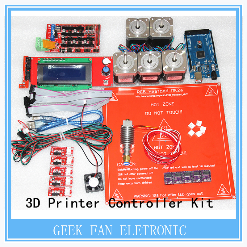 DRV8825 +Ramps 1.4 + Mega2560 R3 + Hot end 3D Printer Controller Kit For RepRap KIT054