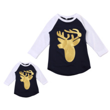 2017 Family Matching Girls Clothing T-Shirt Mom Women Daughter Deer Long Sleeve Tops Women Infant Kids Girls Tee Tops Christmas