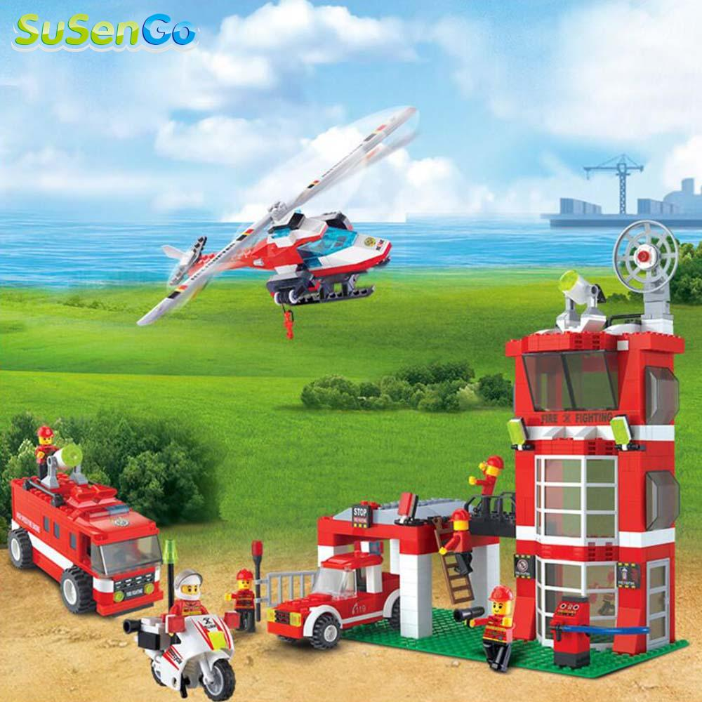 ФОТО kids toy building blocks firemen minifigures helicopter model children gift fire department headquarters