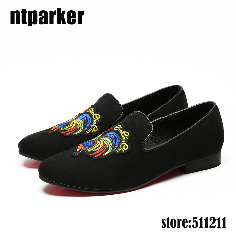 ntparker-100% Brand New Chaussure Homme Suede Black Men Flats Loafers Shoes with embroidery cock Men Summer Leather Shoes Party