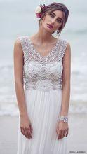 Bohemia Beach A-line Wedding Dress V-neck Sleeveless Elegant Beading Chiffon Vestidos De Noiva NM 619