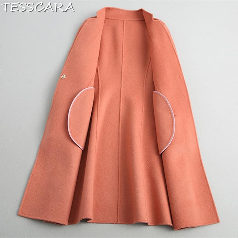 Tesscara Long Bureau Orange Cachemire De Veste Red Survêtement Automne Manteaux Vestes Chaud Laine Femme Base Hiver Mélange Femmes Manteau pink Et B6ZqCxwBr